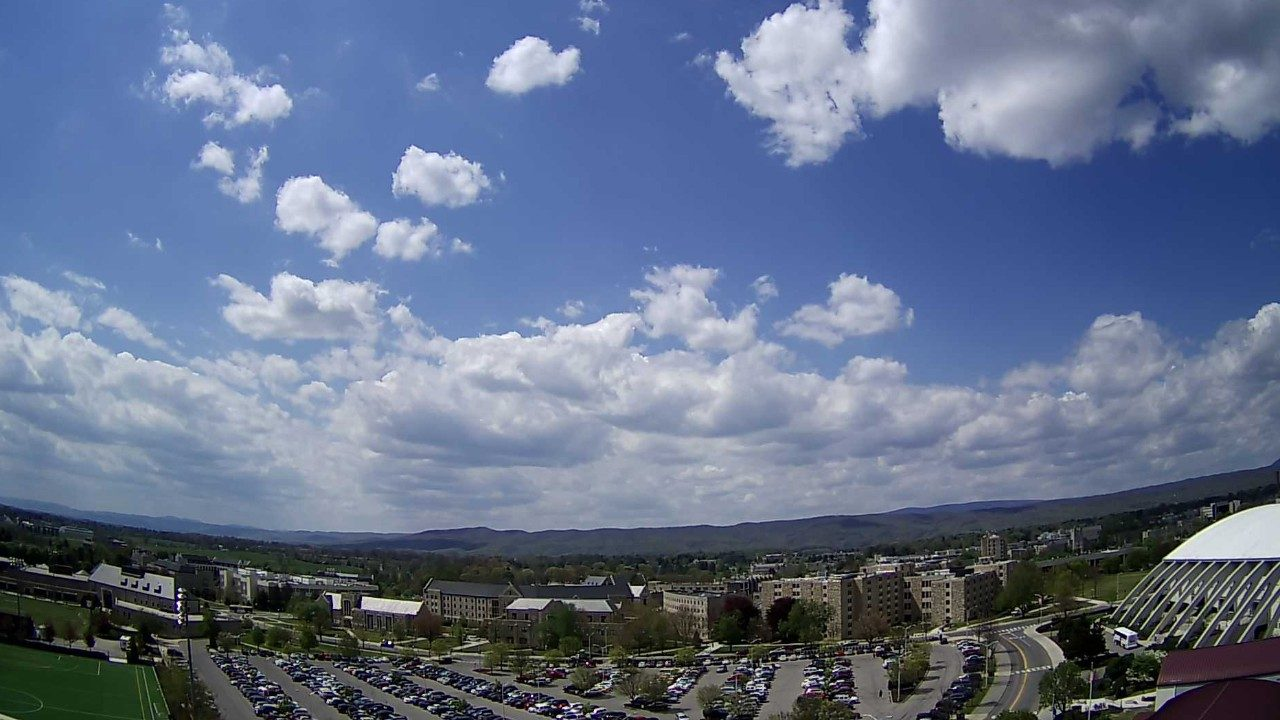 Virginia Tech's customized WeatherSTEM unit gathers weather data from the top of Lane Stadium. It also includes two sky cameras that provide a live glimpse of campus as well as daily time-lapse videos.