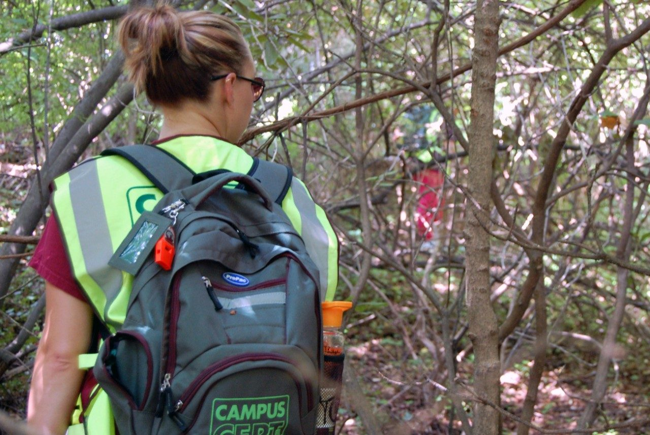 C-CERT member searches wooded area