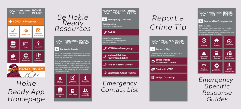 Hokie Ready App screenshots of Hokie Ready App homepage, Be Hokie Ready Resources, Emergency Contact List, Report a Crime Tip, and Emergency Specific Response Guides