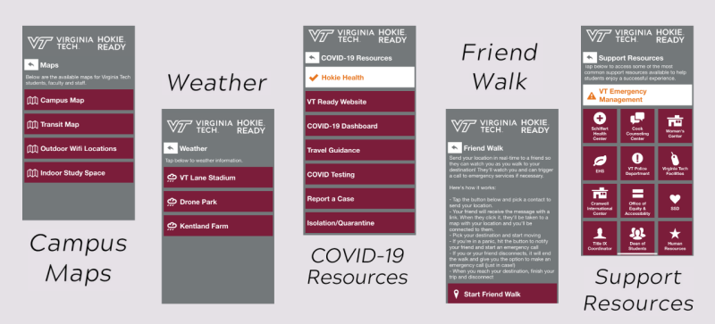 Hokie Ready App screenshots of Campus Maps, Weather, Hokie Health, Friend Walk, and Support Resources pages in the app